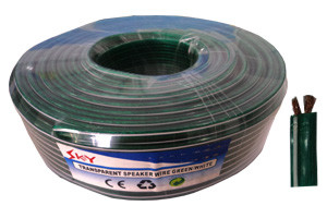 SPEAKER WIRE TRANS GREEN WITH WHIITE LINE -THICK GUAGE